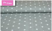 "Premium 100% Cotton Fabric, fashionable patterns, width 160cm (63"") per 0,5 metre – grey stars"