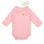 Babiesnature [Promotion] 1+1 Snap Bodysuit Baby Boy And Girl Long Sleeve Organic Cotton 6 Months Pink+Free White