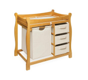 Badger Basket Company Sleigh Style Changing Table with Hamper/3 Baskets in Honey