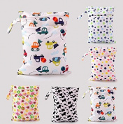 Treasure-House 2pcs Baby Wet and Dry Cloth Nappy Bags, Nappy Organiser Bag with 2 Zippered Pockets