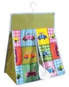 Yuga Car Toys Theme 100% Cotton Twill Hanging Nappy Bag Nappy Stacker Organiser