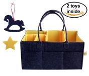 Large Baby Nappy Caddy Nappy Change Organiser Dark Grey and Yellow Felt Portable Nappy Caddy 42x24 cm Universal Nursery Organiser Storage Bin for Wipes, Kid Toys Basket for Car Travel Baby Shower