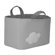 Funny Baby 623219 – juguetero Padded 30 x 45 x 27 cm, design Spots and Cloud, Grey