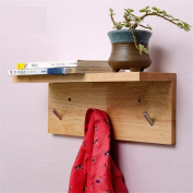 Freestanding Book Shelf / Desk Top Organisation Wall-mounted Solid Wood Coat Racks Adhering The Bedroom Walls Hangers Racks 3 52 * 21 * 9.5cm Hook