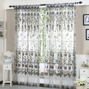 UPXIANG Peony Flower Sheer Curtain Tulle Window Romantic Curtains/Drape/Panel/ Valance/ Treatment, Window Curtain for Living Room Bedroom Home Decor, 200 x 100 CM