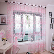 Tpulling Small Flower Curtains 100 x 200 cm Curtain Net Panel Window Treatment Drapes Voile Valance 1 Panel Fabric pink
