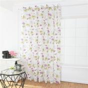 AAA226 Lotus Flower Voile Rod Pocket Window Curtain Home Room Decor