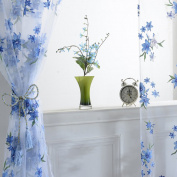 Fixuk Delicate Flower Window Tulle Curtain Sheer Drape Divider Home Bedroom Decor