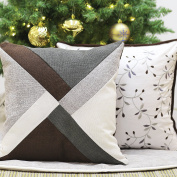 Valery Madelyn Woodland Christmas Cushion Covers Brown and White Decorative Geometry and Embroidered Floral Cotton Linen Throw Pillowcases for Home Sofa