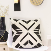 Valery Madelyn Classic Black and White Christmas Cushion Cover Decorative British Moto Style Embroidery Velvet Throw Pillowcase