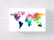 world map nursery a3 canvas picture nursery gift watercolour paint splatter ready to hang