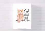 owl always love you nursery a3 canvas picture nursery gift watercolour paint splatter ready to hang