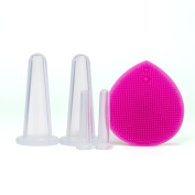 Natural Balance Beauty Skin Care Facial Silicone Cupping Set (with a silicone brush) for Facial Massage, Anti-ageing, Skin Firming and Wrinkles Reduction, Facial Silicone Cups