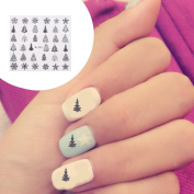 Demiawaking 5 Sheets Christmas Tree Snowflake Nail Art Stickers 3D Nail Manicure Tips Decals Nail Design for Women Girls