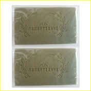 """Green Pure Olive Oil Soap Greek Traditional """"Papoutsanis"""" - Pack of 2 x 100g"""
