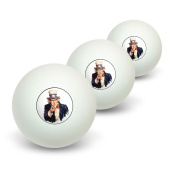 Uncle Sam - USA Novelty Table Tennis Ping Pong Ball 3 Pack