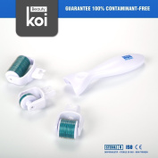 Skin Roller Koi Beauty 3 in 1 Derma Roller System, Face body and Skin Care,Use on Wrinkles, Stretch Marks, Acne, Scar Removal, Pitted Skin and Hyper-pigmentation, Stainless Needle Kit