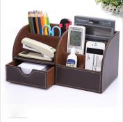 ZXLIFE@Cosmetic storage box leather pen holder fashion creative desktop storage box