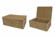 2 x Arpan Paper Rope Storage Hamper Basket With Lid - Ideal For Home/Office & Gifts Hamper