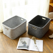 Kelly' Harvest House Felt basket with handles for clothes storage, toy organiser, pet toys Storing Laundry Basket Large Laundry Bag Washing Basket,40cmx 30cm x24cm(Grey)