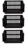 White Furze Large 3 Tier Stacking Baskets Storage Veg Rack Plastic Stackers 35cm