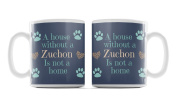 Zuchon, Dog Breed Mug, 'A House Is Not A Home Without.....' Design, Blue Background, Size 90mm H x 80mm D approx.