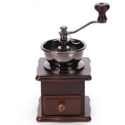 Manual Coffee Grinder Wooden Ceramic Burr Vintage Style Coffee Bean Spice Grinder,Brown