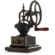 Manual Coffee Grinder High-quality Wooden Cast Iron Vintage Style Coffee Machine With Ceramic Grinding Core,Black