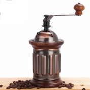 Home Hand Crank Manual Stainless Steel Burr Coffee Grinder Mill Antique Copper Body With Solid Wood Trim,Brown