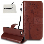 iPhone 5/5S/SE Leather Case, TOCASO Wallet - Book Case, Flip Case Flexible PU Premium Leather [Card Holder] - Id Holder [Drop Resistance] [Scratch Resistant] [Shockproof] Protective PU Leather Wallet Flip Case Cover with Card Holders, Kick Stand, Magne ..