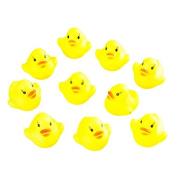HEHILARK Baby Bath Toys, 10pcs Baby Bathing Bath Tub Toys Mini Rubber Squeaky Float Duck Yellow