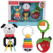NEW Fisher Price Clacker Teether Trio Educational Activity Teething Toys Gift Set Baby Showers Babies Toddlers Birthdays Christmas On the Go Travel Toys Stroller Car Seat Push Chair