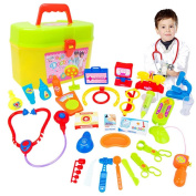Doctor Toy Box Set Kids Educational Toys,Y56 30pcs Kids Baby Doctor Medical Play Carry Set Case Education Role Play Toy Kit Educational Toy Set Home Living Children Kids Toy