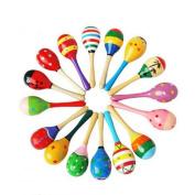 19*6cm Wooden Maraca Rattle Shaker Sand Hammer Ball Egg Baby Kids Musical Sound Toy Party Favour Fun Toy 1PC Colour Random - Mumustar