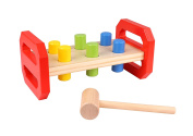 Wooden Pounding Bench Toy for Toddlers with Pound-Peg & Hammer & Coloured Pegs Educational Toy TKB504