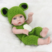 HEHILARK Reborn Baby Doll, 11 Inch 28cm Baby Doll Yellow Hair Eco-friendly Silicone Boy Doll With Frog Bodysuit