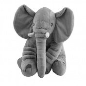 HEHILARK Stuffed Animal Pillow, Elephant Plush Lumbar Pillow Soft For Children Baby Kids Toy Animals