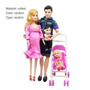 HEHILARK Toys Family of 5 People Dolls Suits, 5 People Dolls Suit Pregnant Doll Family Mom+Dad+Baby Son+2 Kids+Baby Carriage Gift Toys Children Toys Kids Toys Random Colour & Type