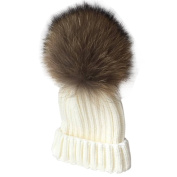 Faux Fur Pom Pom Boys Beanie Hat, Bonice Detachable Pompom Unisex Cosy Winter Knit Cap Hat Toddlers 2-9 Years Old Kids Warm Soft Fall Bobble Hat Caps for Babies Girls & Boys - White