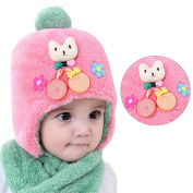 Babies Scarf + Cap Set, Bonice Winter Warm Furry Scarf Shawls Cute Plush Cat Pom Pom Beanies Earflap Hats Caps Kids Furry Neck Warmer Cosy Soft Unisex Infant Children's Hat Wool Skullies for Toddlers Boys & Gilrs - Pink Hat, Green Scarf