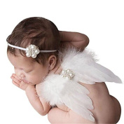 1 Set of the pearl elastic bandage Baby Girl with the boom of Angel Wings Suits Support of Photography Costume Outfits