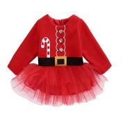 JaneDream Baby Girl Toddlers Red Dress Happy for Christmas