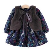 JaneDream Baby Girl Warm Black Vest+Floral Dress Children Clothes Soft Comfortable Lovely