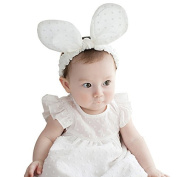 F-eshiat Baby Girls Headbwith, Polka Dots Bowknot Rabbit Ear Princess Hairbwith