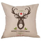 squarex Cotton Linen Christmas Deer Pillow Case Cushion Cover Sofa Home Car Decor