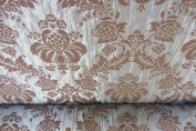 Pettie Damask Faux Silk Powder Blue & Brown Designer Material Sewing Upholstery Curtain Craft Fabric (Metre)