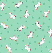 Fat Quarter Fantasy Unicorns Aqua 100% Cotton Quilting Fabric Makower