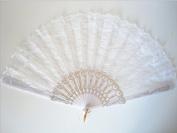 Kelaina Chic Flower White Lace Hand Folding Fan Dance Hand Fan Costume Accessory