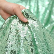 3E Home 2 Yard Mint Green Sequin Fabric Tablecloth Sparkle For Photography Backdrop Curtain Wedding/Party, 130cm Width