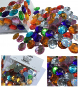 100 pcs. 16 mm large glittering colourful round stones Colourful mix decoration Rhinestones for decoration Rhinestones Square acrylic stones Opal effect Regenbogenffekt Laser optics Regenbogensteine transparent clear crystal crafts Glittering stones Ge ..